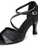 baratos Vestidos Baile Formatura-Mulheres Sapatos de Dança Latina Cetim Têni Detalhes em Cristal Salto Cubano Sapatos de Dança Preto / Roxo / Azul / Ensaio / Prática