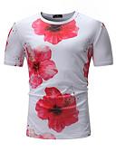 voordelige Heren T-shirts & tanktops-Heren Standaard T-shirt Katoen, Sport Bloemen Ronde hals Slank Wit XL / Korte mouw / Zomer
