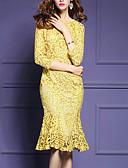 abordables Vestidos de Talla Grande-Mujer Tallas Grandes Encaje Corte Sirena Vestido - Volante, Un Color