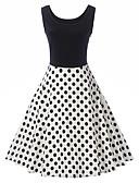 olcso Női ruhák-Női Vintage / Alap A-vonalú / Hüvely Ruha - Nyomtatott / Kollázs, Pöttyös / Színes Térdig érő