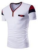 ieftine Maieu & Tricouri Bărbați-Bărbați În V Tricou Sport Bumbac Bloc Culoare Albastru & Alb / Negru & Roșu / Alb negru / Manșon scurt / Zvelt