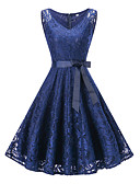 cheap Romantic Lace Dresses-Women's Plus Size Party / Holiday / Going out Vintage / 1950s A Line Dress - Solid Colored Lace / Bow V Neck Summer Pink Navy Blue Wine XL XXL XXXL