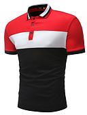 tanie Męskie koszulki polo-Polo Męskie Podstawowy Kołnierzyk koszuli Wielokolorowa / Bez rękawów