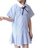 ieftine Seturi Îmbrăcăminte Fete-Copii Fete Zilnic Dungi Plasă / Brodat Manșon scurt Poliester Rochie Albastru piscină 140 / Draguț