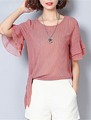 cheap Women's T-shirts-women's blouse - solid colored round neck