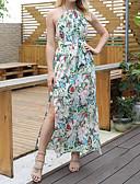 hesapli Maksi Elbiseler-Kadın's Temel / Boho Kılıf / Çan Elbise - Çiçekli, Bölünmüş / Bağcık / Desen Maksi Tropikal yaprak