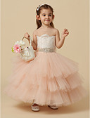 cheap Flower Girl Dresses-Ball Gown Knee Length Flower Girl Dress - Lace / Tulle Sleeveless Jewel Neck with Beading / Buttons / Sash / Ribbon by LAN TING BRIDE®
