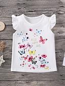 hesapli Kız Çocuk Üstleri-Çocuklar Genç Kız Actif Desen Kısa Kollu Bluz Beyaz