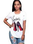 abordables Camisetas para Mujer-Mujer Algodón Camiseta Geométrico