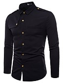 cheap Men's Shirts-Men's Party Daily Work Business / Military / Exaggerated Cotton Slim Shirt - Solid Colored Black L / Long Sleeve / Summer / Fall