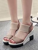 cheap Women's Blouses-Women's Shoes Nubuck leather Summer Comfort Sandals Wedge Heel Black / Dark Brown / Khaki / Wedge Heels