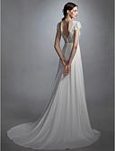 baratos Vestidos de Casamento-Linha A Decorado com Bijuteria Cauda Corte Chiffon / Renda Vestidos de casamento feitos à medida com Faixa / Fita / Flor / Botão de LAN