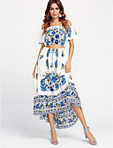 cheap Women's Swimwear & Bikinis-Women's Cotton Swing Dress - Floral Tassel Maxi Strapless
