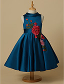 cheap Cocktail Dresses-Ball Gown Short / Mini Flower Girl Dress - Lace / Satin Sleeveless Jewel Neck with Appliques / Bow(s) / Sash / Ribbon by LAN TING Express