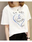 abordables Camisas para Mujer-Mujer Tallas Grandes Algodón Camiseta Un Color / Geométrico / Letra
