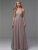 povoljno Večernje haljine-A-kroj Ovalni izrez Do poda Šifon Prom / Formalna večer Haljina s Perlica po TS Couture®