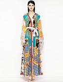 זול שמלות נשים-צווארון V מקסי פרחוני - שמלה סווינג סגנון רחוב חוף בגדי ריקוד נשים