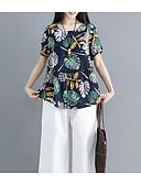cheap Women's T-shirts-Women's Vintage Blouse - Solid Colored Blue & White, Tassel