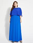 رخيصةأون ساعات سوار-فستان نسائي على شكل تيشيرت كشكش طويل للأرض فضفاض لون سادة