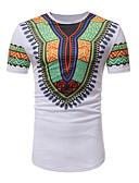tanie Koszulki i tank topy męskie-T-shirt Męskie Aktywny / Podstawowy Bawełna Okrągły dekolt Szczupła - Geometric Shape / Krótki rękaw
