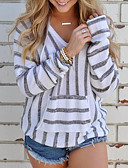 cheap Women's Sweaters-Women's Daily Street chic Striped Long Sleeve Regular Pullover, V Neck Fall / Winter Black / Camel / Gray M / L / XL