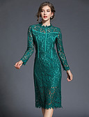 cheap Women's Dresses-Women's Party / Club Vintage / Sophisticated Flare Sleeve Slim Sheath Dress - Solid Colored / Geometric Lace / Cut Out / Split High Waist Halter Neck Spring Cotton Green Pink M L XL
