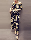ieftine Rochii Damă-Pentru femei De Pe Umăr Mărime Plus Size Concediu / Ieșire Boho / Șic Stradă Fără Bretele Negru Picior Larg Salopete, Floral / Plisat XL XXL XXXL Fără manșon Vară / Sexy
