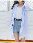 tanie Koszula-Koszula Damskie Vintage, Frędzel Bawełna Solidne kolory Bufka Niebiesko-biały / Wiosna