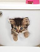 olcso Divatórák-Hűtőmágnesek WC-matricák - Állati falimatrica Állatok 3D Nappali szoba Hálószoba Fürdőszoba Konyha Étkező Dolgozószoba / Iroda