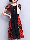 ieftine Rochii de Damă-Pentru femei Vintage Mărime Plus Size Bumbac Pantaloni - Mată / Geometric Alb negru, Plisată Roșu-aprins / Mâneci Bufante