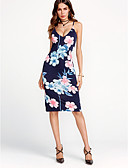 cheap Women's Dresses-Women's Party / Holiday / Going out Street chic Bodycon Dress - Floral Blue Strap / Club / Slim