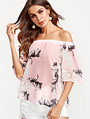 baratos Vestidos de Mulher-Mulheres Blusa Estilo vintage Floral, Floral Decote Canoa Folha tropical