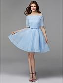 זול שמלות קוקטייל-גזרת A סירה מתחת לכתפיים קצר \ מיני תחרה / סאטן תחרה נשף רקודים שמלה עם פפיון(ים) על ידי TS Couture®