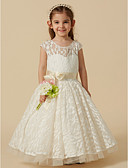 cheap Flower Girl Dresses-A-Line Knee Length Flower Girl Dress - Lace / Tulle Sleeveless Scoop Neck with Lace by LAN TING BRIDE®