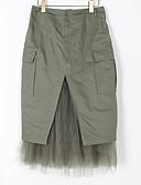 tanie Damskie spodnie-Damskie Vintage / Śłodkie Bawełna Bodycon Spódnice Solidne kolory Czarno-czerwony, Pofałdowany