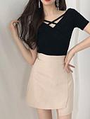 ieftine Tricou-Pentru femei Tricou Vintage - Mată Plisată Negru & Roșu