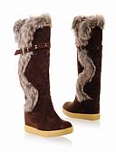 cheap Women's Shirts-Women's Nubuck leather Fall & Winter Riding Boots Boots Wedge Heel Knee High Boots Orange / Brown / Khaki