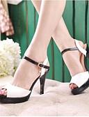 baratos Vestidos de Mulher-Mulheres Sapatos Couro Ecológico Verão Conforto Sandálias Salto Agulha Branco / Azul / Rosa claro
