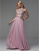 cheap Prom Dresses-A-Line Jewel Neck Floor Length Chiffon Prom / Formal Evening Dress with Beading / Draping by TS Couture®