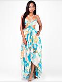 tanie Sukienki-Damskie Moda miejska Spodnie - Geometric Shape Wysoka talia Niebieski / Maxi / Pasek / Wyjściowe / Plaża / Odkryte plecy