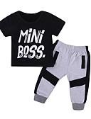 povoljno Kompletići za dječake-Dijete koje je tek prohodalo Dječaci Osnovni Jednobojni Kratkih rukava Pamuk Komplet odjeće Crn