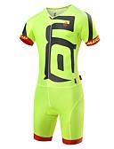 ieftine Rochii Damă-Malciklo Bărbați Costum - Alb / Negru / Verde / Galben Bicicletă Set de Îmbrăcăminte, 3D Pad, Uscare rapidă, Design Anatomic, Rezistent la Ultraviolete, Dungi reflectorizante Spandex Culoare solidă