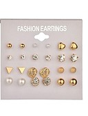 cheap Women's Scarves-Women's Pearl Geometric Stud Earrings Hoop Earrings - Imitation Pearl Simple, Basic Gold / Silver For Daily Evening Party / 12 Pairs / 24pcs