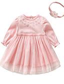 Χαμηλού Κόστους Βρεφικά φορέματα-Μωρό Κοριτσίστικα Βασικό Μονόχρωμο Μακρυμάνικο Βαμβάκι Φόρεμα Λευκό / Νήπιο