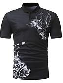 baratos Pólos Masculinas-Homens Polo Básico Estampado, Sólido / Geométrica Algodão Colarinho de Camisa Delgado / Manga Curta