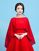 Χαμηλού Κόστους Φορέματα κοκτέιλ-Αμάνικο Σιφόν Σατέν Γάμου / Γενέθλια Γυναικείες εσάρμπες Με Κοντή Κάπα
