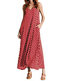 cheap Women's Dresses-Women's Plus Size Chiffon / Swing Dress - Solid Colored / Polka Dot Maxi Strap