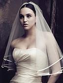 billige Bryllupskjoler-En-lags Blomster / Mesh / Konvertibel kjole Brudeslør Kapell Slør med Utkant / Tvinning 59.06 i (150cm) POLY / Tyll / Oval