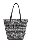お買い得  レディース ビキニ&スイムウェア-女性用 バッグ 布 トート パターン/プリント ブラックとホワイト