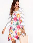 رخيصةأون فساتين للنساء-فوق الركبة ورد - فستان فضفاض أساسي للمرأة / ربيع / خريف / الأزهار، النماذج
